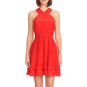 Sezane Alma Coral Silk Cross Back Mini Dress FR34
